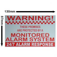 1 x Monitored Alarm System-130mmx87mm-Home,Premises,External,Red On White,Security Warning Sticker Sign
